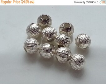 SAVE 20% 10 Pieces Sterling Silver 925 Decorative Beads 4.5mm 1.6mm hole