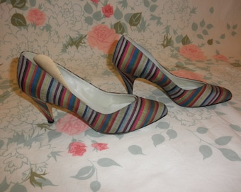 vintage 60's multicolored striped pumps 1960's pointed toe stripe fabric covered rainbow colorful classic high heels shoes pumps 7 8 N 8.5