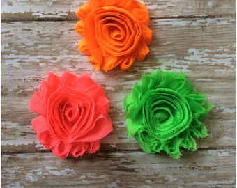 SALE  3 Neon Shabby Chic Flower Hair Clips, Neon Flower Hair Barrettes, Hot Pink Bright Orange and Neon Green Flower Alligator Clips, Gift