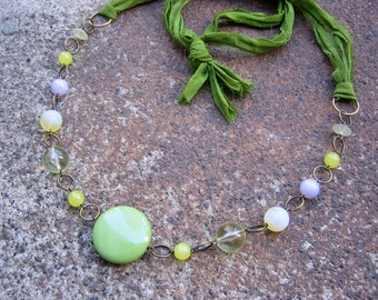 Eco-Friendly Silk Ribbon Statement Necklace - Garden Party - RIbbon from Recycled Saris, Vintage Beads in Grass Green, Pale Yellow and Lilac