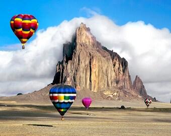 Hot air balloons over Shiprock, New Mexico
