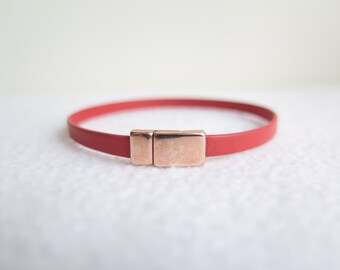 Red leather wrap bracelet, rose gold magnetic clasp