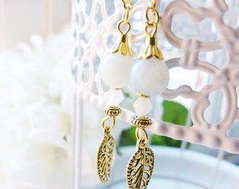 Amazonite stone and gold Bohemian earrings