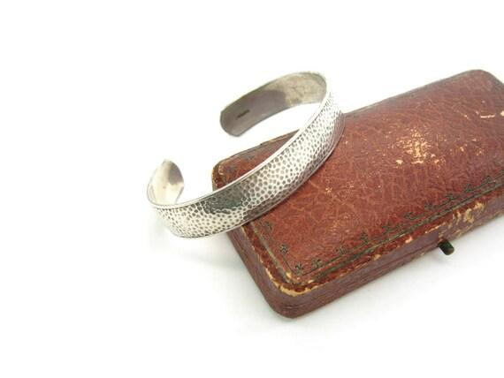 Vintage Arts & Crafts Sterling Silver Hammered Cuff Bracelet