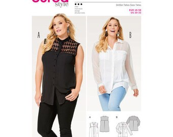 Burda Style couture patron 6551, Misses chemisier pure, Mesdames bouton Up Top, chemisier Taille Plus, nouvelle non-coupe