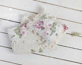 Beautiful vintage floral quilt piece and pillow, upcycled, pink,flowers,green,lace,Photo prop, posing, newborn,baby, Ready to send