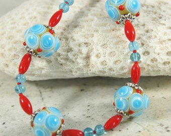 Lampwork bead necklace, Red and Blue Necklace, Glass bead necklace, Lampwork Jewelry, Free Shipping, Item #666