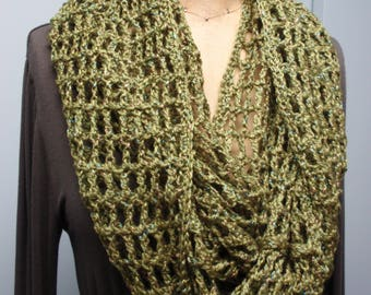 Crochet Filet Stitch Infinity Scarf in Sparkle Green Yarn