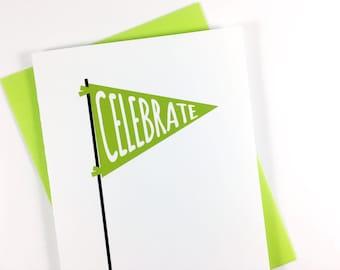 Celebration Card, Congratulations Greeting Card, Birthday Card, All Occasion Card, Single Card, Blank Card, Green Banner Flag Card