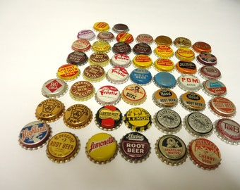 vintage beer soda bottle caps mixed lot,unused,cork lined.50 total