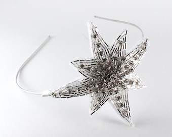 Sparkly White Beaded and Crystal 8-Pointed Star with option of Metal OR Black or Blonde Elastic