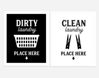 Laundry Room Art, Dirty and Clean Signs, Set of Two Landry Prints, Black and White Laundry Decor
