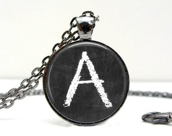 Chalk Board Letter Necklace Glass Dome Art Picture Pendant Photo Pendant Handcrafted Jewelry  (1498)