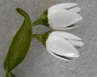 Vintage White Enamel Tulip Flower Pin