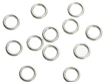 100 Linking Rings 6mm Silver Plated Closed Jump Rings Spacer Circles - FD321
