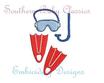Scuba Mask Snorkel Fins Mini Fill Design File for Embroidery Machine Instant Download