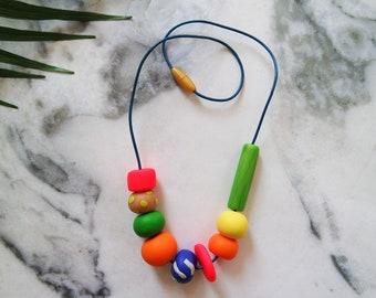 Handmade Polymer Clay Geometric Beaded Necklace Neon