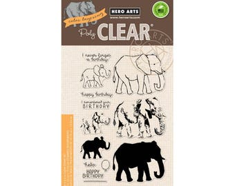 SALE Hero Arts Color Layering Elephant CM224  matches die D147, Clear Stamps, Stamping, Paper Crafting, Scrapbooking, Cardmaking
