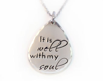 It Is Well With My Soul Necklace, It Is Well, Teardrop Necklace, Hymn Lyrics Necklace