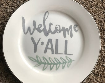 Welcome Y'all Hanging Plate