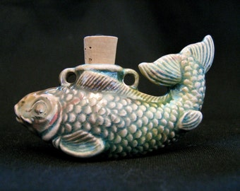 Raku Bottle Ceramic Bead - Fish - RAKBOT12