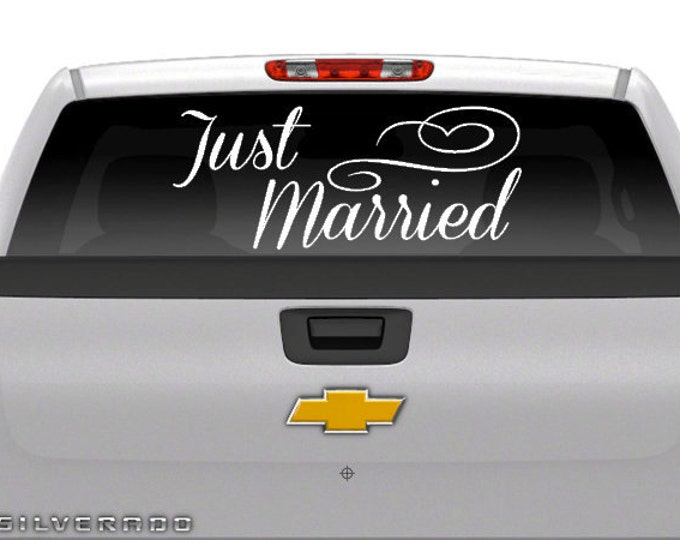 JUST MARRIED With Heart - Vehicle Decal Vinyl Wedding Day Vehicle Decal Just Married Decal