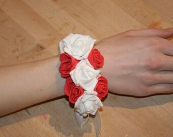 wedding Pink White bridesmaid bracelet personalized Red