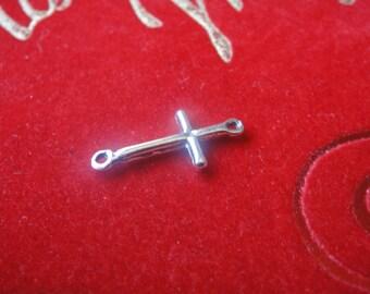 925 sterling silver oxidized sideways cross connector charm, silver cross, silver cross connector