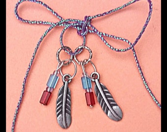 Hearing Aid Charms: Silver, Copper, and Gold Feather with multicolored Czech Glass Accent Beads  (available in Matching Mother Daughter Set)