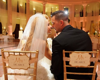 Personalized Mr and Mrs Sweetheart Table Chair Signs for the Bride & Groom