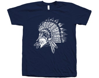 Wolf Indian Chief Tshirt Hand Screen Print American Apparel Crew Neck Available: S , M , L , Xl , Xxl
