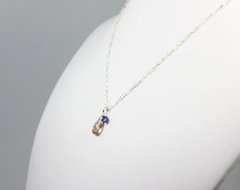 Oregon Sunstone Necklace Blue Kyanite Peach Sterling Silver Gemstone Wire Wrapped Necklace