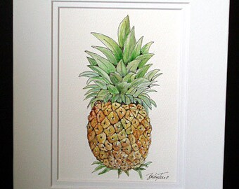Pineapple - Original Watercolor and Pen and Ink Painting, Fruit Art, Fruit, Pineapple, Wall Art, Kitchen Art, Fruit Painting