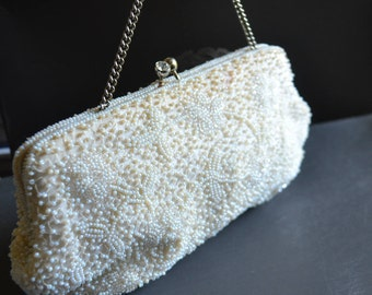 white beaded bag bridal clutch