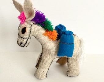 Handmade wool toy, El Burrito