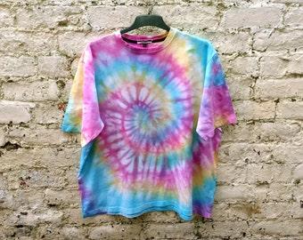 Hippie Pastel Rainbow Tie Dye Shirt Unisex Tshirt ALL SIZES AVAILABLE Festival Fashion Boho Pastels Hippy Clothing Fashion