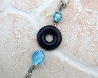 Necklace with donuts in polymer clay plum style completely hand made murano glass beads
