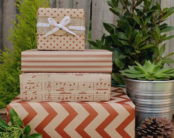 Vintage Red and Kraft printed Wrapping Paper Kit