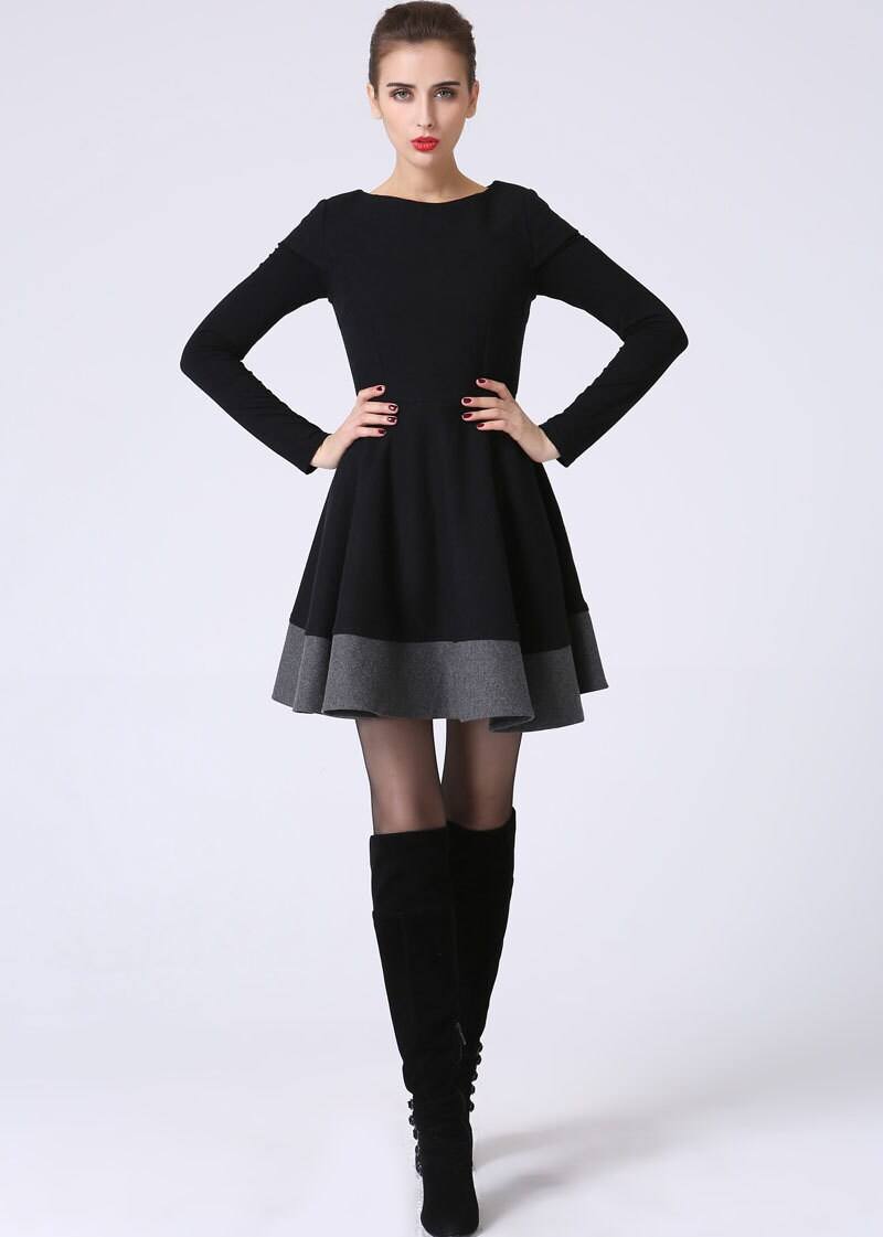 Little black dress, LBD, short sleeve dress, color block dress, black mini dress, wool dress, modern dress, custom made dress 1069