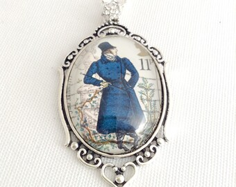Mr Darcy necklace, Jane Austen jewelry, Pride & Prejudice necklace, Mr Darcy postage stamp UK 1975