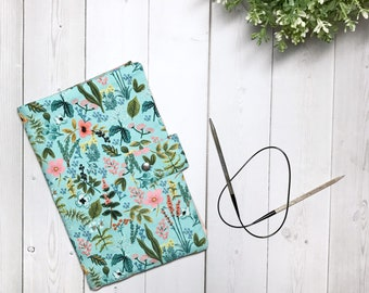 Circular Knitting Needle Holder/Knitting Needle Organizer/Needle Case-Herb Garden in Mint and Peach.