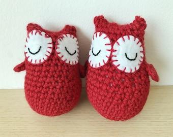 Crochet Red Owls (Bobs) - Tall