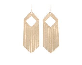 Leather earrings, fringe earrings, fringe jewelry,statement earrings, big earrings, gold earrings