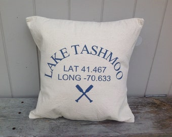 Custom nautical longitude and latitude 18x18 PILLOW COVER