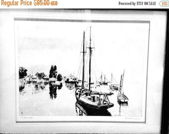 "Now On Sale Framed Actor Lionel Barrymore Etching ""Quiet Waters"" Mid Century Vintage"