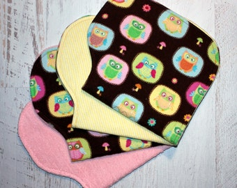 Burp Cloth Baby Shower Gift Set of Four Contoured Burp Cloths, Burp Rags, Gift for Girl Owls Flannel Pink Terry Cloth, Absorbent
