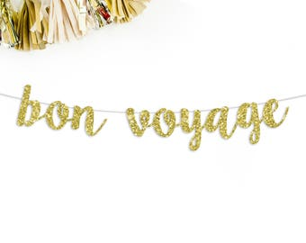Bon Voyage Cursive Banner   going away party   moving party   relocating party   party decor   cruise party   career change   party banner