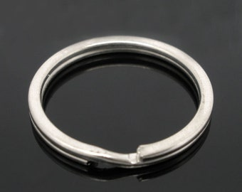 20pcs Wholesale Key Ring Findings - Silver Blank Split Rings - Key Chain Supply 25mm x 2mm -Circle Round Keychain Bulk Lot Silver Plated