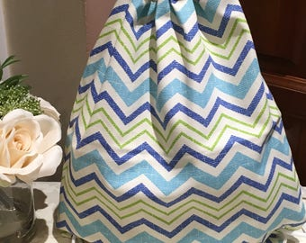 Drawstring bag (1x) Bluegreen zigzag pattern