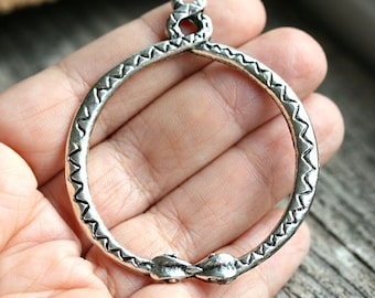 Silver Snake pendant, Antique silver 2 snakes pendant, Circle of snakes, Greek metal casting beads - 1pc - F274